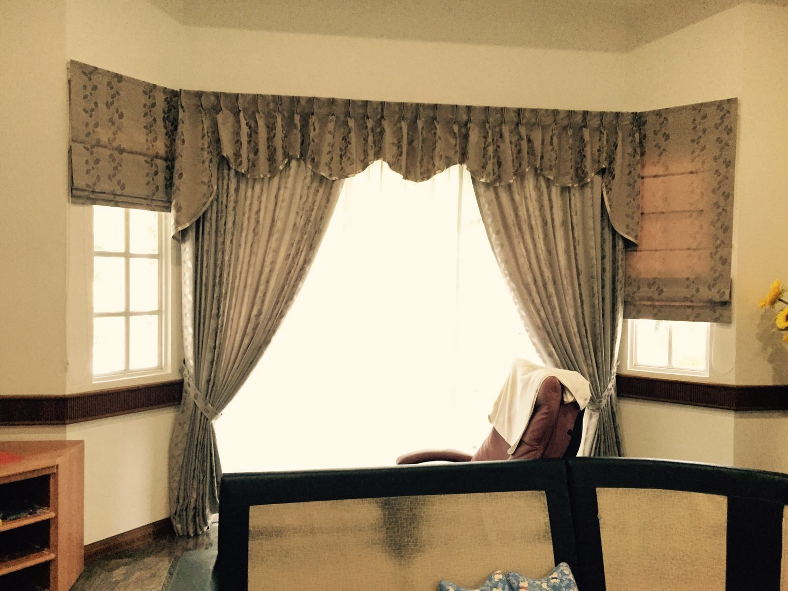 swag blockout itm curtains sheer blackout coffee fabric drapes pelmet net mocha brown valance curtain